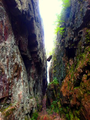 One of two chasms on the Agawa Rock Pictographs trail. This chasm clings onto a larger than life boulder, which has sunk closer and closer to Lake Superior throughout the passing of time.