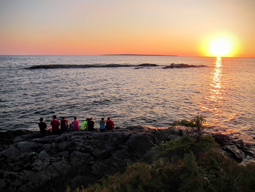 Some of the Duke of Edinburgh hikers taking in Saturday's sunset at the Baldhead River.